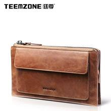 Teemzone Brand High Quality Men Vintage Clutch Bag Genuine Leather Handbags Large Capacity Men's Bag Cowhide Wallet Free Shippin