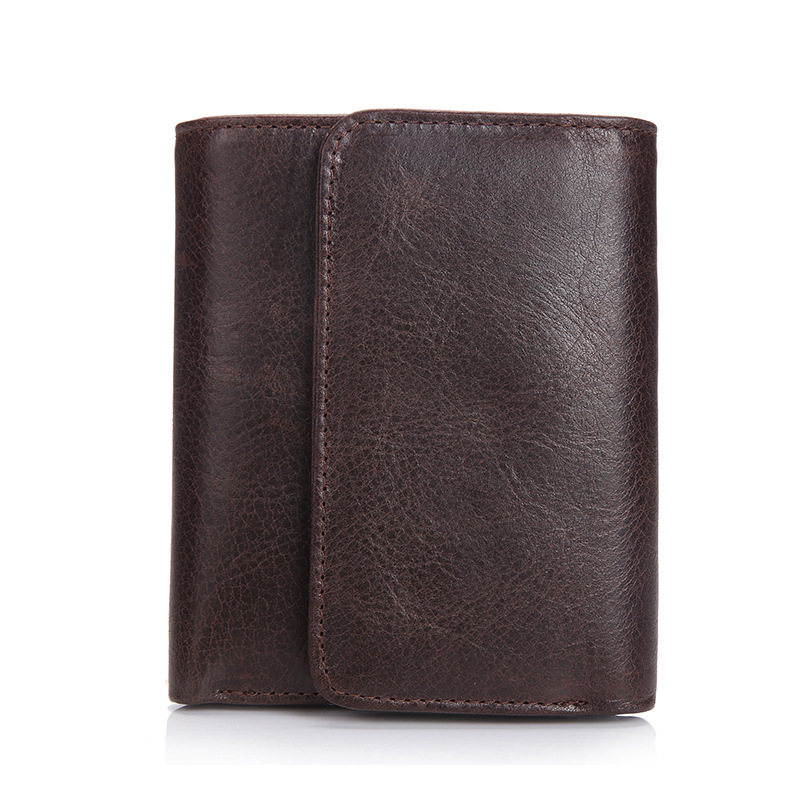 New Fashion Brown Design Male Cowhide Short Wallet Leather Casual Retro Men Wallets Coffee new fashion wallet men wallet men retro