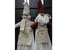 Полотенце для рук и лица LT, Снеговик в фартуке, с держателем