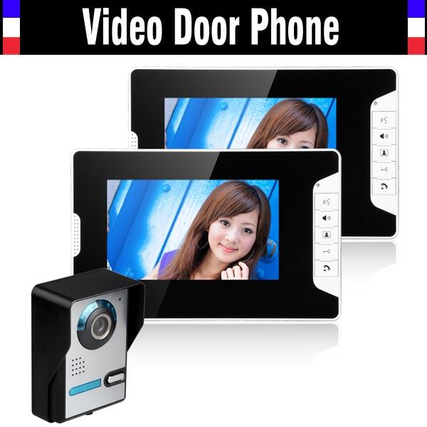 "7 Inch Night Vision Digital Video Door Phone Intercom Doorbell Doorphone System 7"" TFT LCD Color Monitor IR Outdoor Camera 1 to2"
