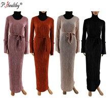 Модная мусульманская сморщенная юбка карандаш макси платье труба рукав абайя длинные халаты Туника Ближний Восток Рамадан Арабская Исламская одежда