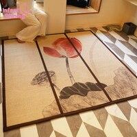 Infant Shining Bamboo Mat Carpet Bamboo Weaving Tatami Rugs 100X150CM Living Room Rugs Folding Bedroom Carpet Printing Mat