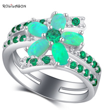 ROLILASON Latest Design Flower Style Green Fire Opal 925 Silver Zircon Fashion Jewelry Ring USA size #5#6#7#8#9#10 OR878