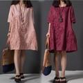 Платье 2017 Лето Китайский Стиль Женщины Dress О Шея Свободные Плюс Размер Вышитые Белье Dress Элегантный Коротким Рукавом Повседневные Платья