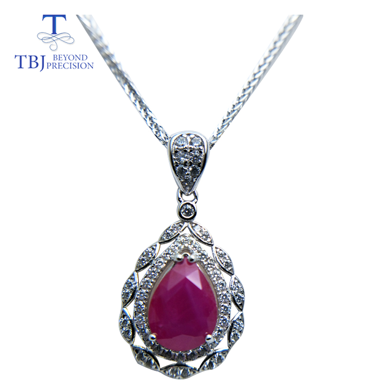 TBJ,Natural Africa treatment water drop Ruby real ruby precious gemstone pendant 925 sterling silver fine jewelry for women giftTBJ,Natural Africa treatment water drop Ruby real ruby precious gemstone pendant 925 sterling silver fine jewelry for women gift