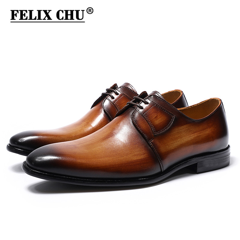 FELIX CHU Luxury Genuine Leather Mens Brown Green Derby Shoes Office Company Party Formal Male Lace-Up Dress Wedding Footwear hot sale mens genuine leather cow lace up male formal shoes dress shoes pointed toe footwear multi color plus size 37 44 yellow