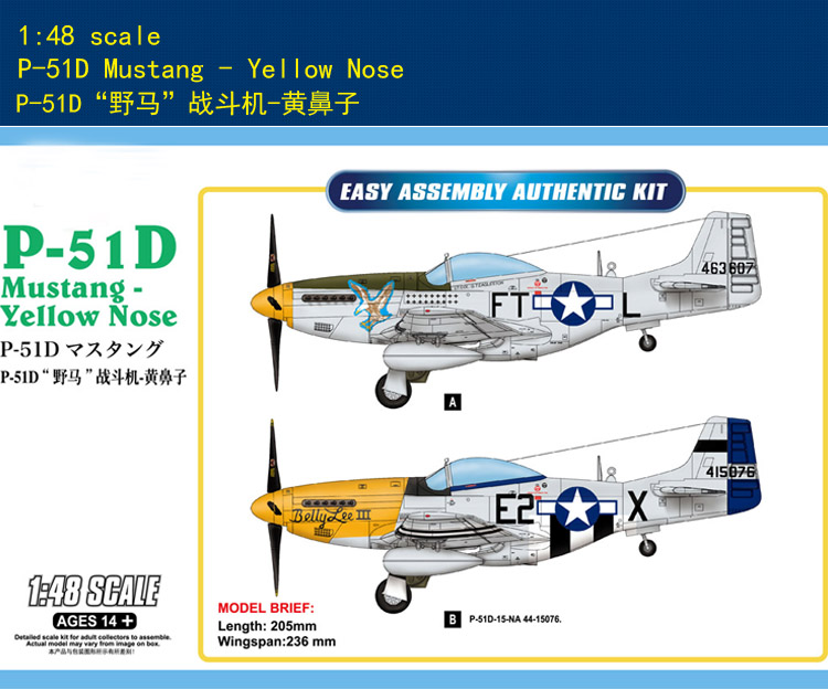 Hobbyboss 1/48 85808 P-51D Mustang Yellow Nose