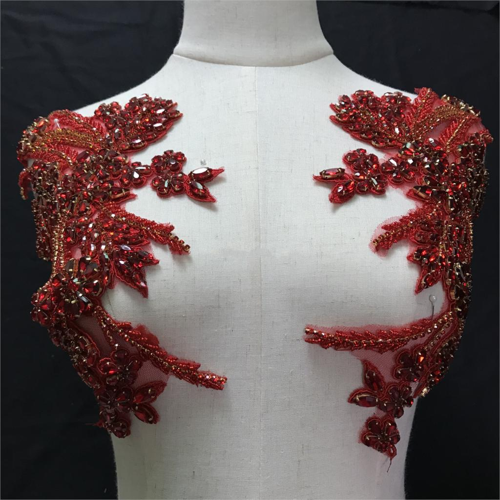 1pair 2019 High Quality red Handmade Bridal Headpiece Sash,Deluxe Bead Rhinestone Applique-in Rhinestones from Home & Garden    1