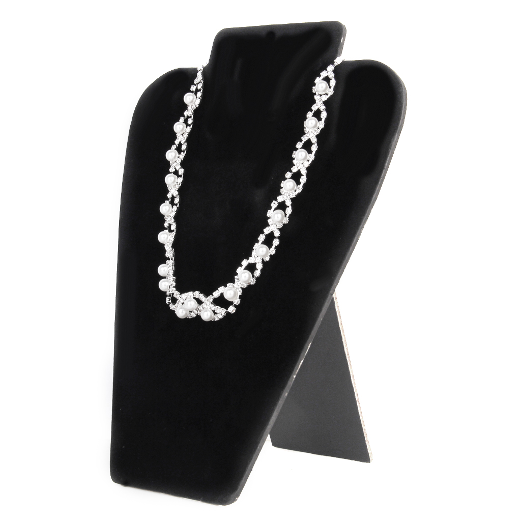Black Velvet Card Board Necklace Earring Jewelry Display Bust Stand Showcase Shop Retailer Counter Jewlery Holder