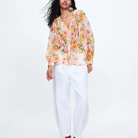 Blouse Women Floral Printed Womens Tops and Blouses Long Sleeve V Neck Loose Casual Summer Blouse Button Blouses Woman 2019 Boho