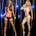 HOT!!New 2016 Sexy Role Dance Nightclub Band Bodysuits Women's Sexy Black Lingerie Set Sexy Lady's Leather Band Bodysuits