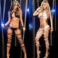 HOT!! Novo 2016 Banda de Papel Sexy Boate de Dança Bodysuits Preto Sexy das Mulheres Conjunto de Lingerie Sexy da Senhora Pulseira de couro Bodysuits