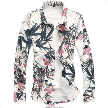 High Quality Fashion Design Men Spring Winter Casual Flower Printed Long Sleeve Slim Fit Shirt Top Blouse New 2019 цена 2017