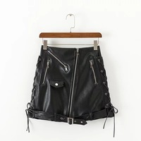 Elegant Zipper Pocket Short Women Skirt Casual Black Slim Mini Skirt Lace Up Sexy High Waist