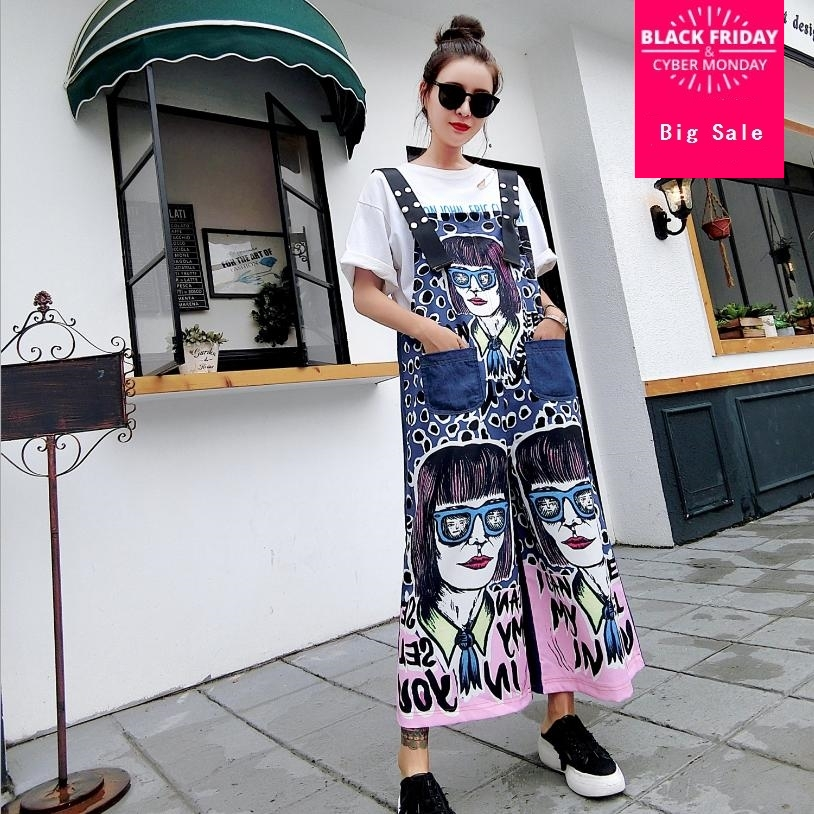 Thailand Fashion Plus Size Casual Loose Character Print Pattern Denim Jumpsuit 2018 New Streetwear Personality Jean Rompers L840