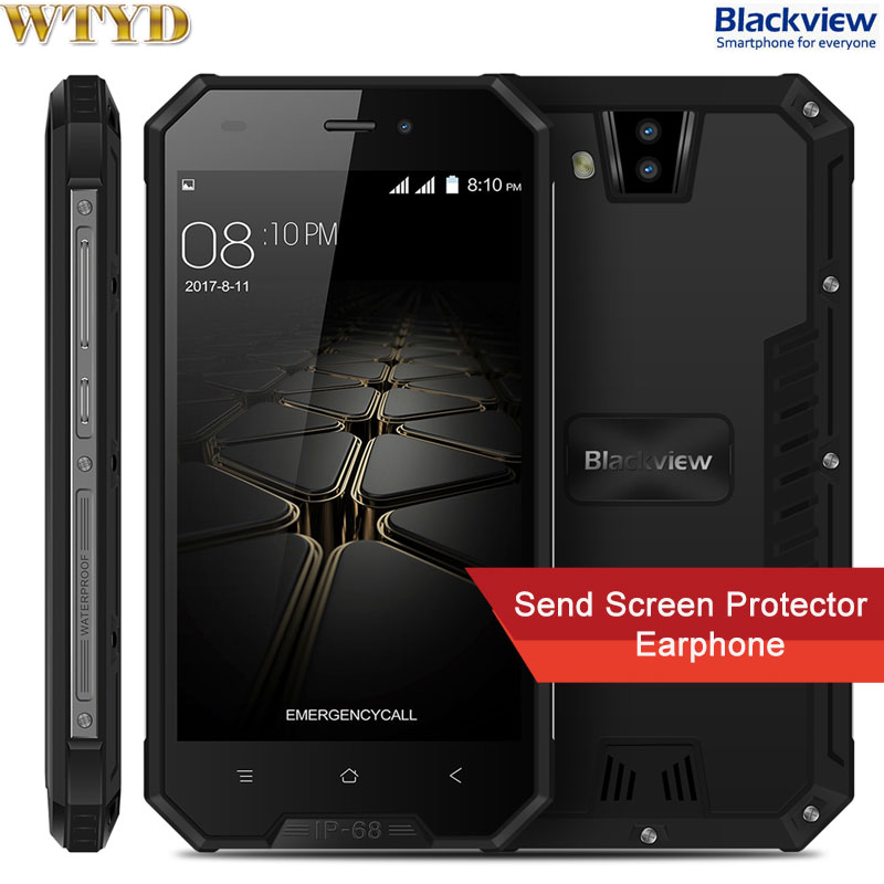 Blackview BV4000 Pro Triple Proofing Phone 2GB+16GB IP68 Waterproof Dual Back Camera 4.7'' Android 7.0 MTK6580A Quad Core 1.3Ghz