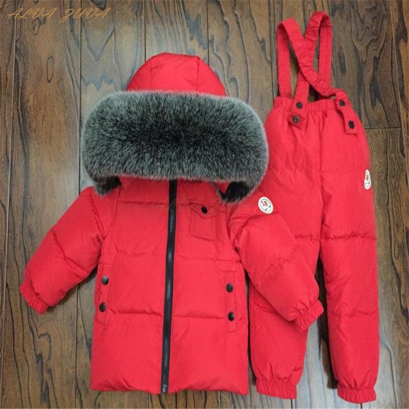 Детская натуральный мех комплекты одежды детские пуховики + штаны комбинезон теплый костюм для мальчиков и девочек уличная лыжный комплект