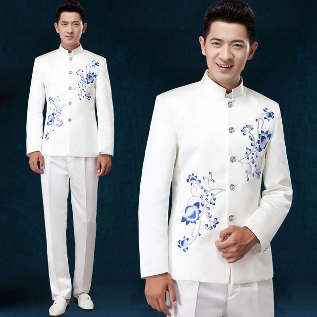 New Slim suit Embroidered stand collar Chinese style white suits ...