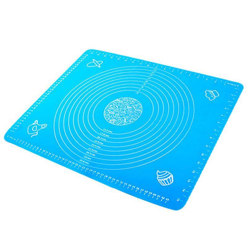 Кондитерский лист антипригарный силиконовый коврик с маркировкой, силиконовый коврик, силиконовый лист, силиконовый противень-50x40 см - Цвет: Blue