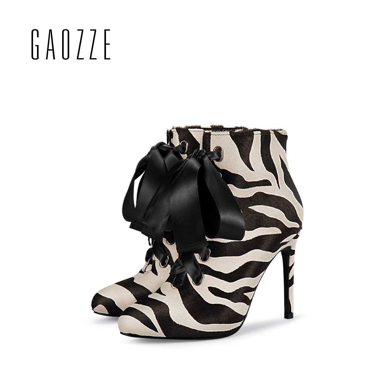 GAOZZE fashion ankle boots for women side zipper ankle boots female sexy high-heeled Leopard horse hair boots 2017 autumn gaozze autumn ankle boots for women 2017 new sexy thin high heeled boots women side zipper fashion pointed toe shoes red boots