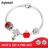 STEP FORWARD Fashion Jewelry 100% 925 Sterling Silver Bracelets For Women Red Crystal Bee Apple Forever Love Original Bracelet