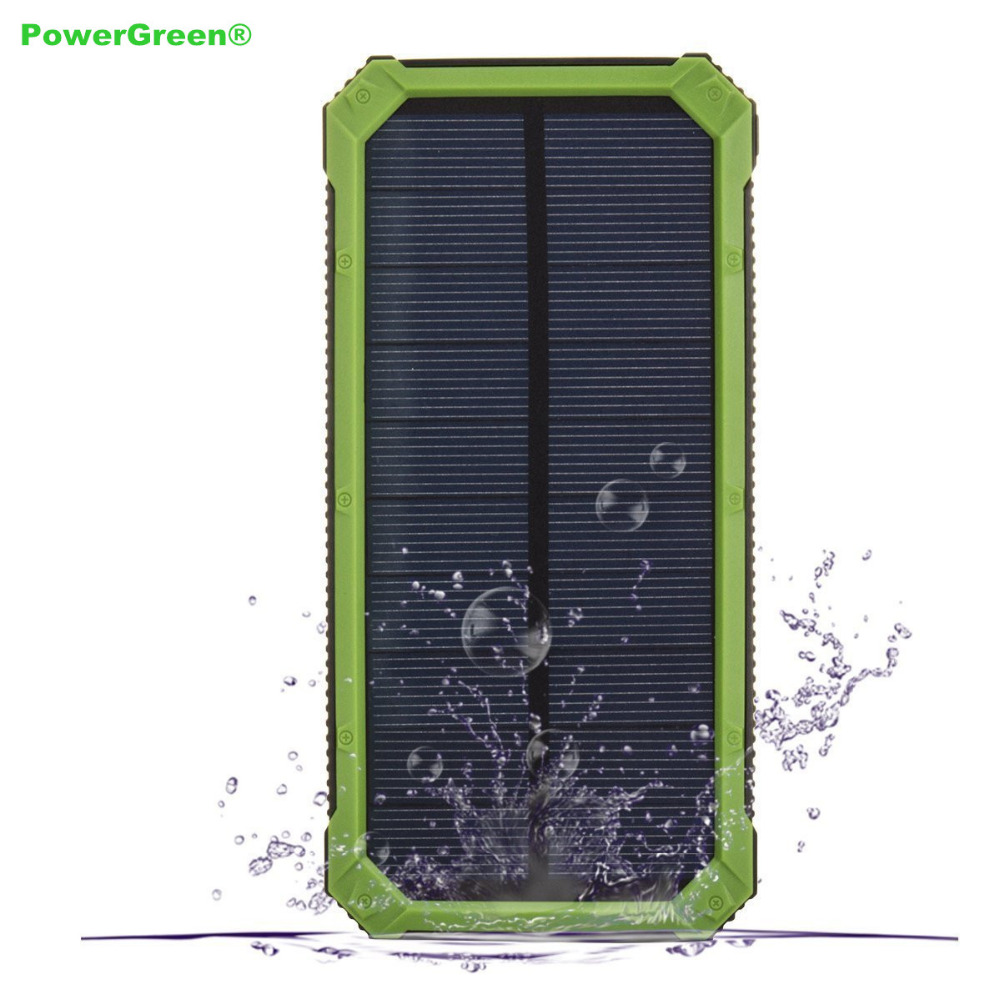PowerGreen Solar Powerbank Karabijnhaak Ontwerp Dual Port USB-oplader - Mobiele telefoon onderdelen en accessoires - Foto 1