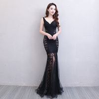 Floor Length Full Manual Gauzy Sexy Star Full Prom Evening Dresses 2018 Cocktail Dress Night Entertainment