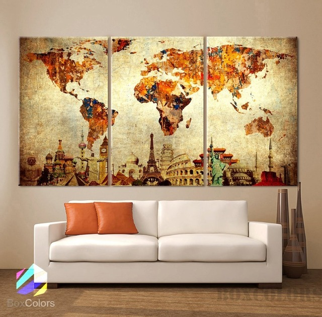 3 Pcs/Set Vintage World Map Canvas Painting Oil Painting Print On ...