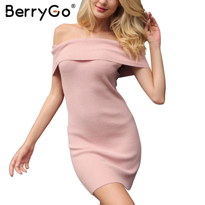 BerryGo Sexy off shoulder knitted winter sweater dress Women elastic pullover short dress Autumn bodycon slim white dress 2017