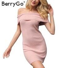 Berrygo Sexy с открытыми плечами зимнее вязаное платье-свитер Для женщин эластичные пуловер короткое платье Осень Bodycon Тонкий белое платье 2017