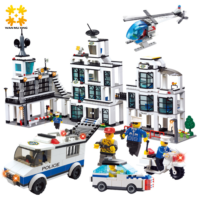 1230pcs Police Office Model Building Blocks Compatible with major brand blocks Building Bricks Educational Enlighten Kids Toy police pl 12921jsb 02m