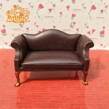 цены Multi color!1:12 Dollhouse Miniature Living room furniture Leather Double sofa free shipping