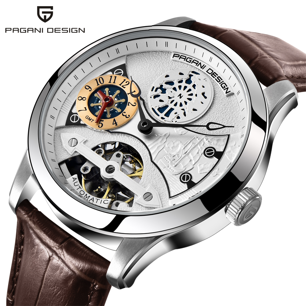 Fashion PAGANI 1635 Leather Tourbillon Watch Luxury Brand Automatic Men Watch Men Mechanical Steel Watches Relogio Masculino