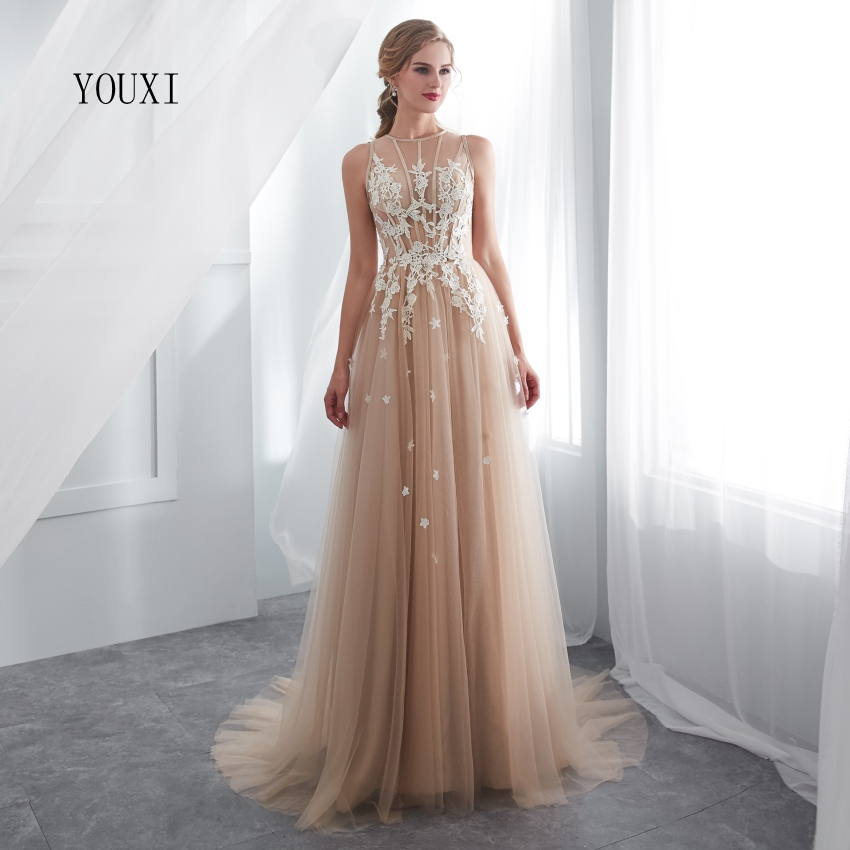 Champagne   Prom     Dresses   YOUXI O-Neck Sexy Sheer Neck Lace Applique A-Line Sleeveless Sweep Train Long Party Evening Gowns