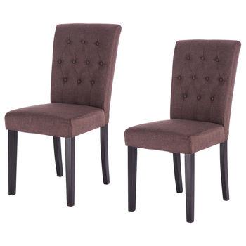Conjunto Giantex de 2 modernas sillas de comedor de tela sin brazos ...