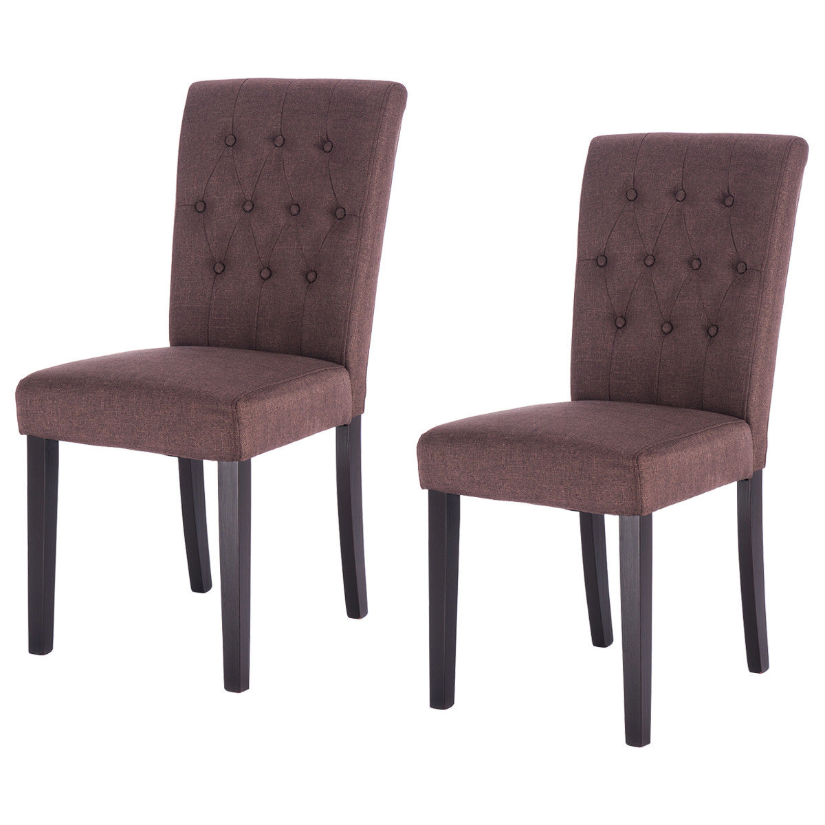 все цены на Giantex Set of 2 Modern Dining Chair Fabric Armless Accent Tufted Upholstered with Solid Wood Legs Furniture HW52778BN онлайн