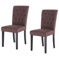 Giantex Set of 2 Modern Dining Chair Fabric Armless Accent Tufted Upholstered with Solid Wood Legs Furniture HW52778BN