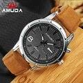 Hombres Reloj Deportivo Militar AMUDA Genuino de la Marca de Cuarzo de Moda Reloj de pulsera de Cuero Casual Ronda Dial Relogio Regalo Novio!