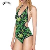 Summer Style Hemp Leaf Weed Full Printed 3D Swimsuit Women Bathing Suit Sexy Backless String Bikini