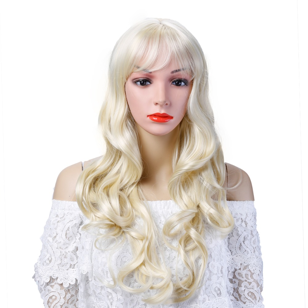 Cosplay Wig Synthetic Long Curly Middle Part Line Blonde Women Hair Costume Carnival Halloween Party Salon Hair AOSIWIG