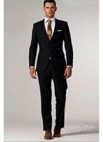 Индивидуальный заказ черный костюм черный смокинг черный Для мужчин костюмы с тонким узором, классические брюки Для мужчин s жениха Slim Fit