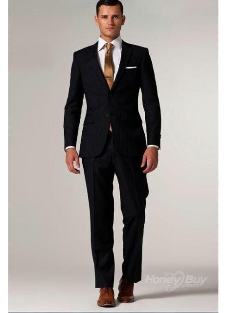 Custom Made Black Suit Black Tuxedo Black Men Suits With Subtle ...