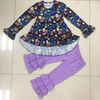 new fashion wholesale fall boutique kids clothing dress and violet pant ruffle usa girls outfits toddler baby clothes sets F146