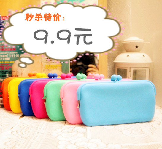 neon jelly soft hasp multicolour candy color silica gel coin purse mobile phone bag cosmetic bag card clutch