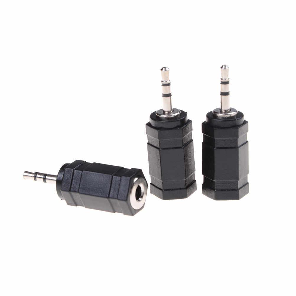 3 PCS2.5 mm męski na 3.5mm żeńskie złącze stereo Audio pc telefon słuchawki słuchawki kabel konwertera wtyczka czarny