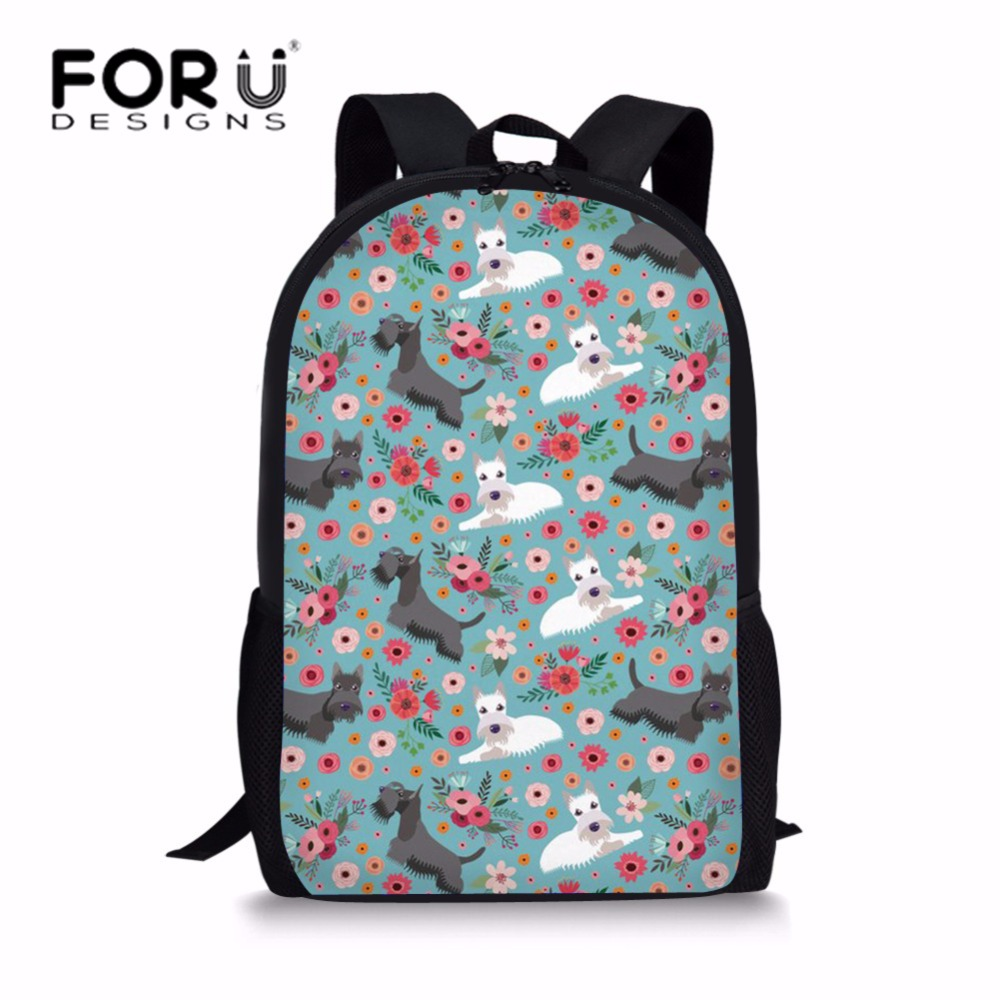 FORUDESIGNS Middle School Students School Bags for Teenager Girls Mochila Escolar Scottish Terrier Printing Schoolbag Kids Bolsa