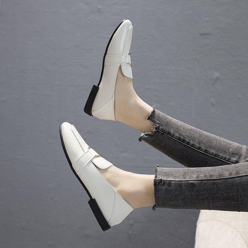 Slip Mocassins Toe Mujer Femme Métal Carré Bateau Dames Décontractées Plates Cuir jaune En On Chaussures Zapatos Pu Oxford C7091 Noir blanc qtrFtx