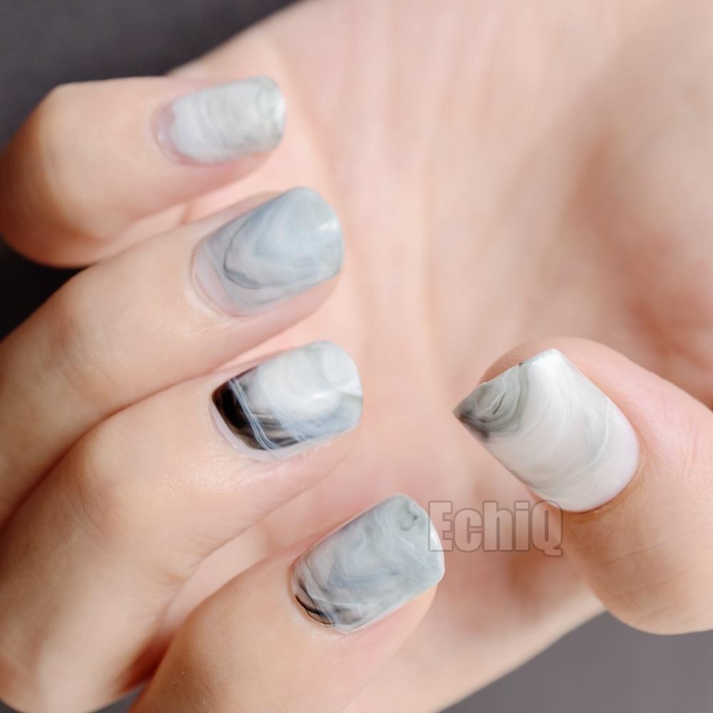 Artificial Nail Tips: Shiny Squoval Acrylic Nail Tips Gray White Marble Stones