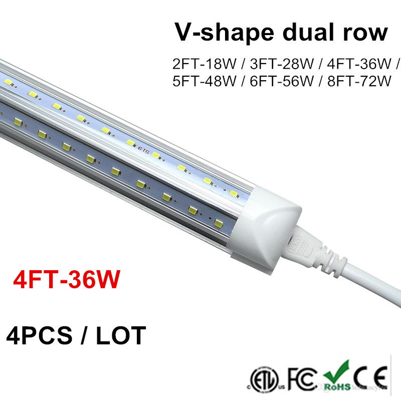 1.2M T8 Tube LED V Shape Integrate 4ft 5ft 6ft 8ft Double Side Power LED Tube Factory Price Cooler Door Lighting SMD2835 100LM/W free shipping 1800mm home lighting 6ft t5 integrated led tube lights smd2835 28led pcs 30w 100pcs lot