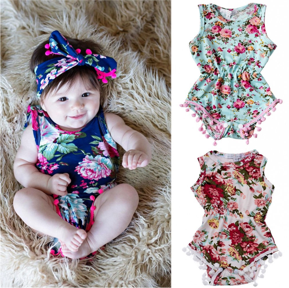 f7289bc08271 Detail Feedback Questions about Newborn Baby Girls Clothes Sleeveless Summer  Bodysuit Floral Infant Kids Clothing Bebes Bodysuits One Pieces Sunsuit on  ...
